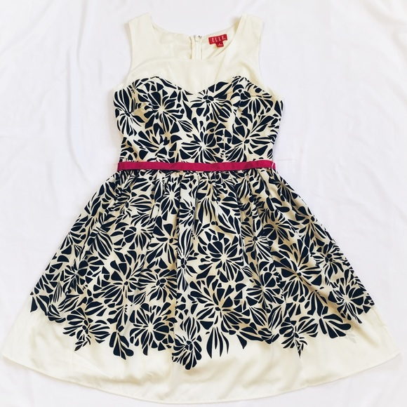 Elle Dresses & Skirts - Elle Black & White Floral Dress Sz 8